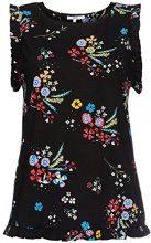 FIND Blusa senza Maniche con Rouches Donna , Multicolore (Black Mix), 44 (Taglia Produttore: Medium)