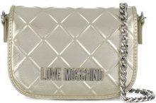 Love Moschino - front logo mini bag - women - Polyurethane - One Size - METALLIC