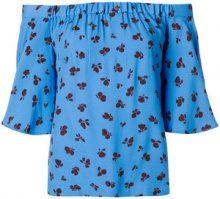 Ganni - Blusa con spalle scoperte - women - Viscose - 36 - Blu