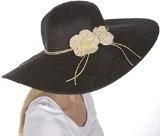 Sakkas – cappello da donna a tesa larga e floscia 100% carta paglia con protezione UPF 50+ e note floreali