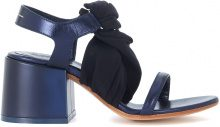 Sandalo MM6 Maison Margiela in pelle blu e tessuto nero