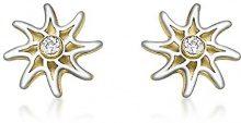 Carissima Gold - Orecchini a Perno da Donna in Oro Bicolore 9K (375) con Ossido di Zirconio