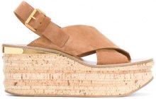 Chloé - Tan Camille 80 Leather Wedges - women - Suede/Leather - 36, 36.5, 38, 39, 41, 39.5 - Marrone