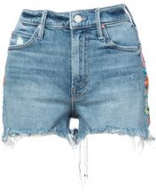 Mother - embroidered cut-off shorts - women - Cotone/Spandex/Elastane - 24, 26, 27, 28, 29, 30, 31 - Blu