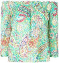 Etro - Blusa spalle scoperte con motivo paisley - women - Cotone/Acetate - 42, 44, 46, 40 - Verde
