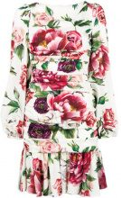 Dolce & Gabbana - printed ruched waist dress - women - Silk/Spandex/Elastane - 42, 44, 40, 46, 38, 50 - WHITE