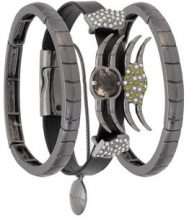 Camila Klein - leather trim three-bracelet set - women - metal - OS - Metallizzato