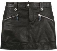 Dsquared2 - biker mini skirt - women - Cotone/Calf Leather/Viscose/Polyester - 38, 40, 42 - Nero