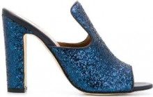 Paris Texas - block heel glittered mules - women - Leather/PVC - 36, 36.5, 37, 37.5, 38, 38.5, 39, 39.5, 40, 41, 35 - Blu