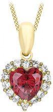 Carissima Gold Collana con Pendente da Donna in Oro Giallo 9K con Ossido di Zirconio Rosso