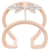 Anapsara - Anello mini con libellula - women - Diamond/18kt Rose Gold - 55 - Metallizzato