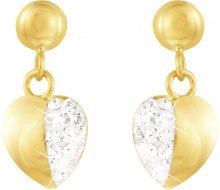 Orecchini cuore in oro e cristalli