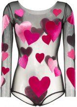 Alexia Hentsch - hearts applique round neck bodysuit - women - Polyamide - S/M, M/L - Nero