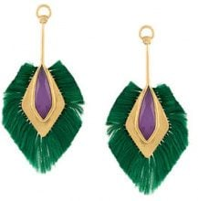 Katerina Makriyianni - fringe pendant earrings - women - Silver/Rayon/24kt Gold - OS - Verde