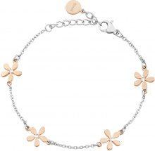 Bracciale charms fiore in acciaio bicolore e cristalli