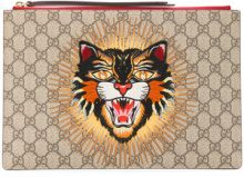 Gucci - angry cat GG supreme pouch - women - Polyurethane/Cotone/glass - OS - Color carne & neutri