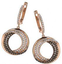 Orphelia–Orecchini da donna in argento 925placcato oro con zirconi nero taglio rotondo–zo 7055