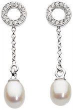 Dew - Orecchini pendenti a perno in argento Sterling con perle d'acqua dolce e zirconi