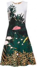 Oscar de la Renta - foliage A-line dress - women - Polyester/Viscose - S - Bianco
