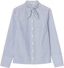 FIND Camicia con Fiocco Donna , Multicolore (Blue/white Stripes), 48 (Taglia Produttore: X-Large)