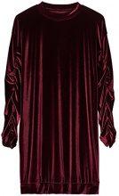 FIND Vestito in Velour con Arricciatura Donna , Rosso (Wine), 48 (Taglia Produttore: X-Large)