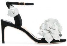 Sophia Webster - Sandali con applicazione a forma di fiore - women - Calf Leather/Suede/Leather - 37, 36, 38 - Nero