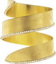 Bracciale bangle big in bronzo dorato e cristalli