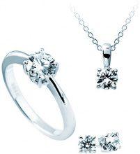 Diamonfire Parure Collana + Orecchini + Anello carati, Set da 4pezzi in argento 925rodiato con zirconi taglio brillante bianco–13/1202/1/918