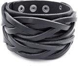 MENDINO Braccialetto largo unisex intrecciato in pelle nera, stile Punk Rock, regolabile da 17 a 20 cm circa