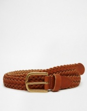 ASOS - Cintura molto sottile in pelle color cuoio intrecciata