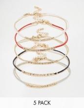 ASOS - Confezione di braccialetti sottili con perline dorate