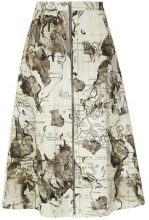 Andrea Marques - maps print skirt - women - Cotone/Spandex/Elastane - 36, 40, 42 - unavailable