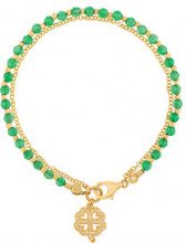 Astley Clarke - Four Leaf Clover Biography bracelet - women - 18kt Gold Vermeil/Onyx/Crystal - OS - GREEN