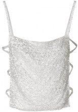 Nina Ricci - Top con dettaglio cut-out - women - Polyamide/Crystal - OS - METALLIC