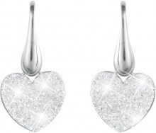 Orecchini pendenti cuore in argento 925 rodiato e glitter