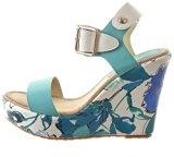 Sopily - Scarpe da Moda sandali Zeppe alla caviglia donna fiori Tacco zeppa piattaforma 11 CM - Blu