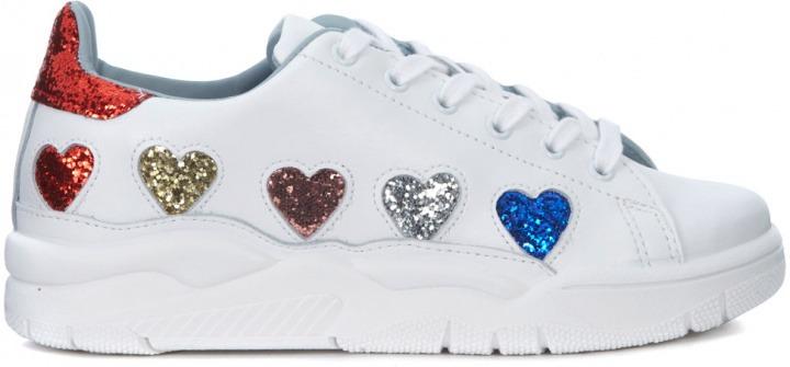 ee8da34c0d Sneaker Chiara Ferragni Roger in pelle bianca con cuori glitter ...