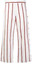 Mih Jeans - Pantaloni a gamba ampia a righe - women - Cotone/Spandex/Elastane - XS, S, M, L - Bianco