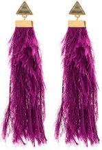 - Katerina Makriyianni - Orecchini lunghi a frange - women - argento sterling/fibra sintetica - Taglia Unica - di colore rosa
