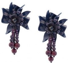 Oscar de la Renta - flower field earrings - women - plastic/glass/metal/Silk - OS - BLUE