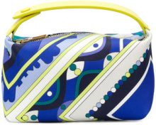Emilio Pucci - abstract print makeup bag - women - Polyester/Viscose/Calf Leather - One Size - Blu