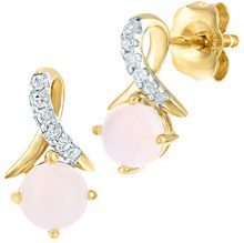 Naava Donna 9 carati oro giallo Rotonda bianco Opale Diamante