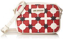 Love Moschino Borsa Pu Avorio/nero/rosso - Borse Baguette Donna, Multicolore (Ivory-black-red), 6x15x21 cm (B x H T)