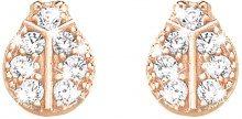 Orecchini coccinella in argento 925 rosato e zirconi per Donna