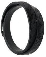 Diesel - logo embossed bracelet - men - Calf Leather - One Size - Nero
