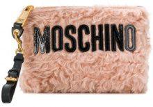 - Moschino - logo envelope clutch - women - pelliccia di capra - Taglia Unica - di colore rosa
