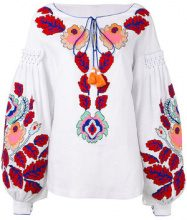Yuliya Magdych - 'Eden Tree' embroidered blouse - women - Linen/Flax - S, M, L - Bianco