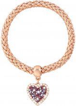 Bracciale cuore in metallo rosato e cristalli