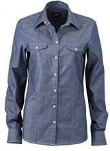 James & Nicholson Ladies Blouse, Blusa Donna, Blu Dark-Denim, 42 (Taglia Produttore: Medium)