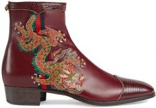 Gucci - Leather boot with dragon - men - Leather/Polyester - 7, 7,5, 9, 10,5, 11 - Rosso